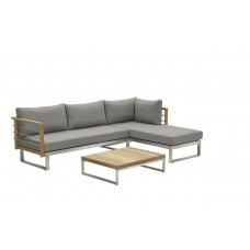Belerive open bank rechts stainless steel/teak/warm grey