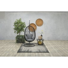 Panama swing chair egg rope zwart Ø8mm/ reflex grey