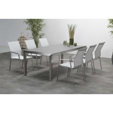 Geneva dining stoel           grijs/ wit textileen