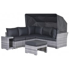 Donau loungeset 5-delig       cloudy grey L-shape/refl.black