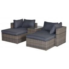 Garda balkon lounge set 5-dlg hav. sand L-shape/ refl. black