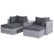 Garda balkon lounge set 5-dlg cl. grey L-shape/ refl. black