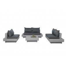Capetown lounge set 4-dlg     vintage grey 2-h./reflex black