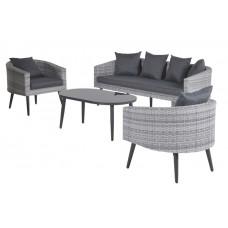 Dazur lounge set 4-dlg        cloudy grey 2-half/refl. black