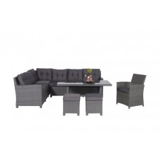 Aboyne lounge/dining set 5-dlgearl grey 8,4mm/d. antraciet