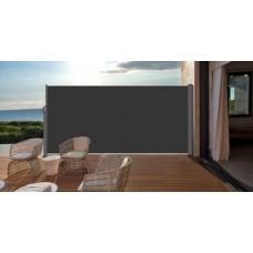 Windscherm oprolbaar 180x300  mat carbon black/ donker grijs