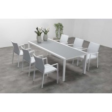 Dallas dining tafel 220x100   mat wit/ licht grijs glas