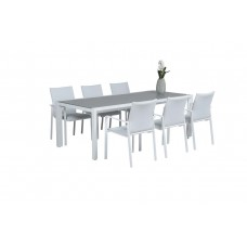 Dallas dining fauteuil        mat wit/ off white