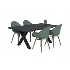 Pontone dining fauteuil       oak wash/ jade groen