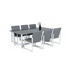 Icarus dining tafel 220x105   wit/ grijs glas